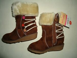 GIRLS CARTERS IMPERIAL TODDLER 5 6 7  FAUX FUR SUEDE ZIP BROWN BOOTS NWT GIFT!