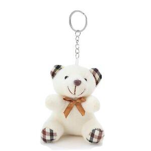 Teddy Bear Cute White Soft Toy Keyring Keychain - UK Seller