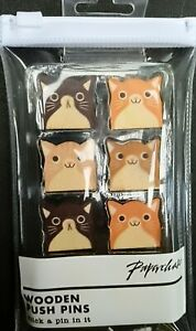 Cat Push Pins wooden x 8 in zip pack - Paperchase - (7526)