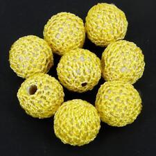 CROCHET LAINE secondes Tissu Perles, 22 mm Jaune Lot de 5 bébé dentition CR83