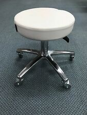 pedicure stool gas lift salon stool 37cm high white seat aluminum leg W wheels