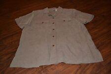 H6- Anna Taupe/Tan Short Sleeve Button Down Shirt Size M