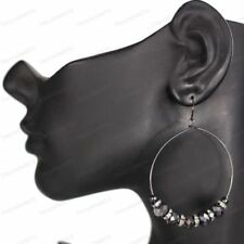 Glass Hematite Costume Earrings