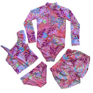 Girls Rash Body Swimming Costume Shorts Tankini Swimsuit Floral Age 1 - 12 Years