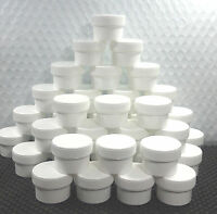 10 USA Made White Plastic Jars 1/2oz + White Screw on Caps Container #3804
