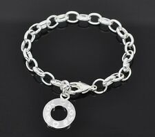 Silver Plated Link Chain Lobster clasp Love Bracelet for Clip ON Charms  C132