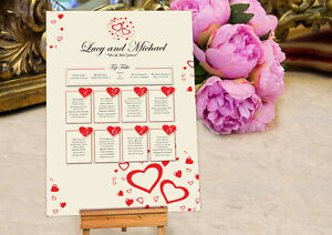 Personalised Wedding Seating Table Plan ~Canvas~Board~Paper~ HEART DESIGN