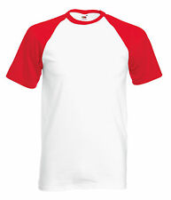 Fruit of the Loom Baseball tee All Colours & Sizes Plain T Shirt Short Sleeve