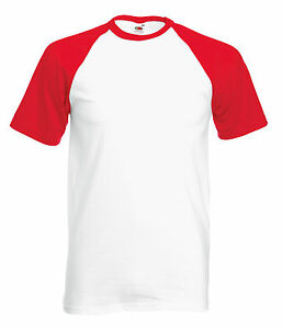Fruit of the Loom Baseball tee All Colours & Sizes Plain T Shirt Short Sleeve