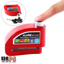 Motorcycle Scooter Anti-theft Brake Disc Lock Wheel Alarm Security  Red US