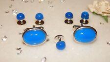 5 S/P 8mm Dress/Dinner Shirt Studs & 18x13mm Cufflinks & Blue Onyx Stones-Tuxedo