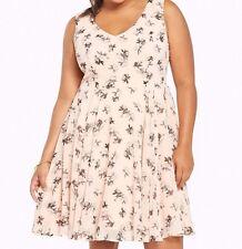 Torrid Floral Print Flounce Skirt Dress Light Pink 1X 14 16 1 #23820