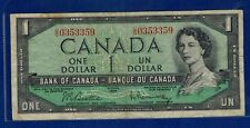 1954 Canada 1 dollar Bill U/O Beatty/Rasminsky BC-37 Bi