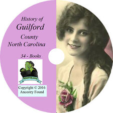 GUILFORD County North Carolina NC - History Genealogy Greensboro - 34 Books DVD