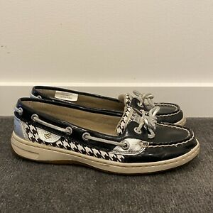 Womens Sperry Top-Sider Boat Shoes Black Shiny Pattern Flats Size 5.5