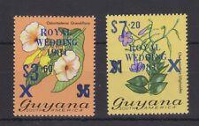 1981 Royal Wedding Charles & Diana MNH Stamp Set Guyana Blue Overprint