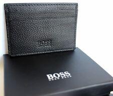 Hugo Boss slim homme en cuir carte de crédit titulaire S Noir Neuf hommes cadeau Case BNWT