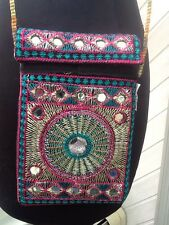 New - Embroidered and Beaded Cross-Body Cell Phone Purse
