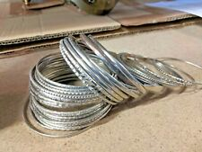 Moroccan Steel Silver Bangles Mixed Designs - 50pcs Free PP