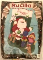 Bucilla Felt Stocking #82902 A Visit With Santa from 1991 Open but New