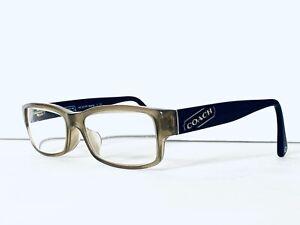 Coach Clear Olive Rectangular Frame & Clear Dark Logo Temple Glasses 52 16 135