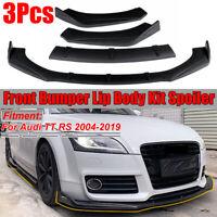 For Audi TT RS 2004-2019 Front Bumper Lip Body Kit Spoiler Splitter MATTE BLACK