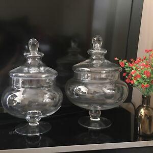 Traditional Vintage Squat Glass Bonbon Sweet Jar WEDDING PARTY FOOTED SWEET JAR