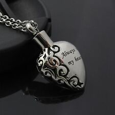 """Always in my heart"" Cremation Jewelry Keepsake Memorial Urn Necklace Ash Holder"