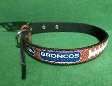 Denver Broncos Football 🏈 Leather Dog Collar NFL Pet Dog/Cat 🐾 Large GameWear