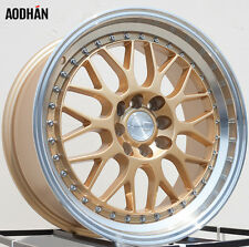AODHAN AH02 17x8 4x100 / 4x114.3 +35 Gold Machined Lip (PAIR) wheels