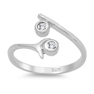 Adjustable Wrap Around Toe Ring CZ Solid Sterling Silver 925 Ship from USA
