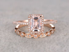 2.50Ct Emerald Cut Morganite 14K Rose Gold Over Art Deco Wedding Bridal Ring Set