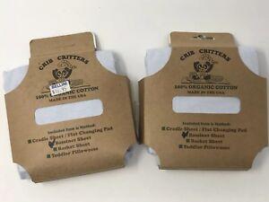 2 BLUE CRIB CRITTERS 100% Organic Cotton Bassinet Sheet,  MADE IN USA