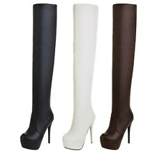 Boots womens Vintage Sexy Thigh High stiletto Heels booties Platform shoes 0-10