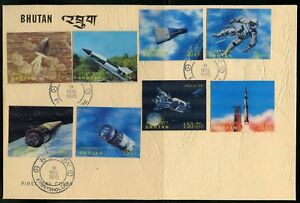 BHUTAN SCOTT# 118/118K CONQUEST OF SPACE  OFFICIAL FIRST DAY COVERS  RARE