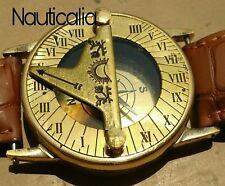 BRASS NAUTICAL SUNDIAL HAND WRIST WATCH COMPASS MARINE 2'' VINTAGE NAVIGATION