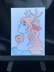 ACEO Original Day Dreaming Medium Black Ink Marker & Prismacolor on Paper Signed