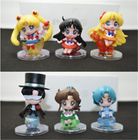 6PCS/SET Anime Sailor Moon Mini Figures 5CM PVC Model Doll Toy Decor Gifts New