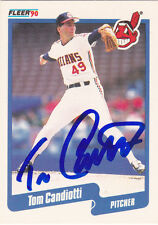 TOM CANDIOTTI CLEVELAND INDIANS SIGNED 1990 CARD DODGERS A'S BLUE JAYS BREWERS