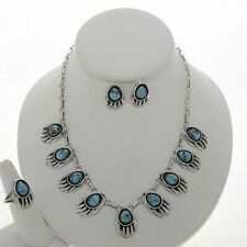 Bear Paw Natural Turquoise  Earrings Ring Necklace Set