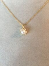 Tiffany & Co. 18K Gold Diamond And Pearl Pendant Necklace 16""