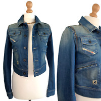 Diesel Women's Denim Blue Spring Biker Jacket Size UK 8 EUR XS Short Casual Coat
