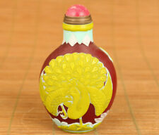 Antiques old glaze Hand painted peacock figure statue snuff bottle hand piece