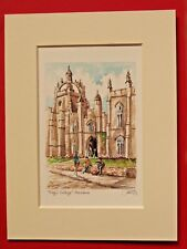 KING'S COLLEGE ABERDEEN CHARMING MOUNTED WATERCOLOUR PRINT 8X6 OVERALL 1 OF 121