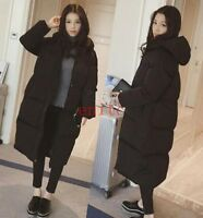 Womens Winter Korean Cotton Padded Coat Hooded Knee Long Puffer Parka Outwear SZ