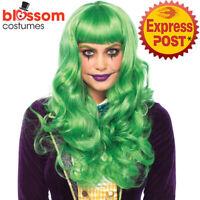 W491 Misfit Green Long Wavy Adult Joker Trickster Clown Leg Avenue Costume Wig
