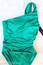 NWT La Blanca Sea Glass Aqua Green Ruched Sexy One Shoulder Swim Suit 6 $129