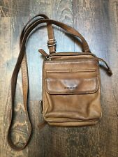 Fossil Brown Leather Multi Function Organizer Crossbody Bag 6.5 x 7.5