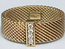 TIFFANY & CO 18k Yellow Gold 7mm Wide Mesh Band 4 Diamonds Size 7.5 Ring 6.7gram