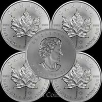 5 x 2018 Canadian 1 oz maple leaf 999.9 Silver Bullion Coin.